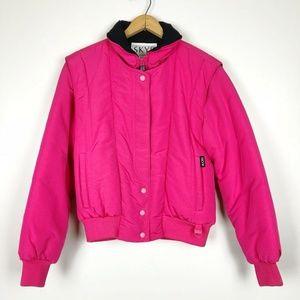 80s Vintage SKYR Hot Pink Bomber Ski Jacket